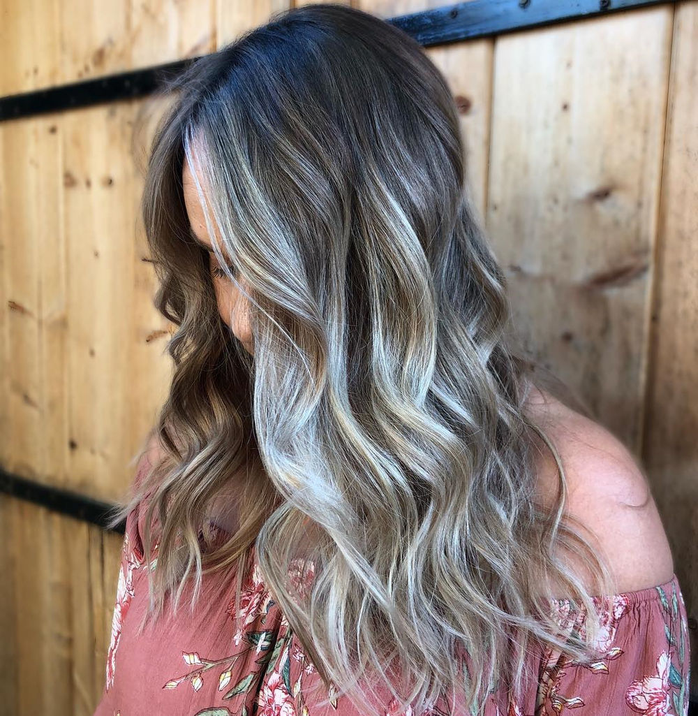 Long Romantic Hairstyle with Silver Highlights