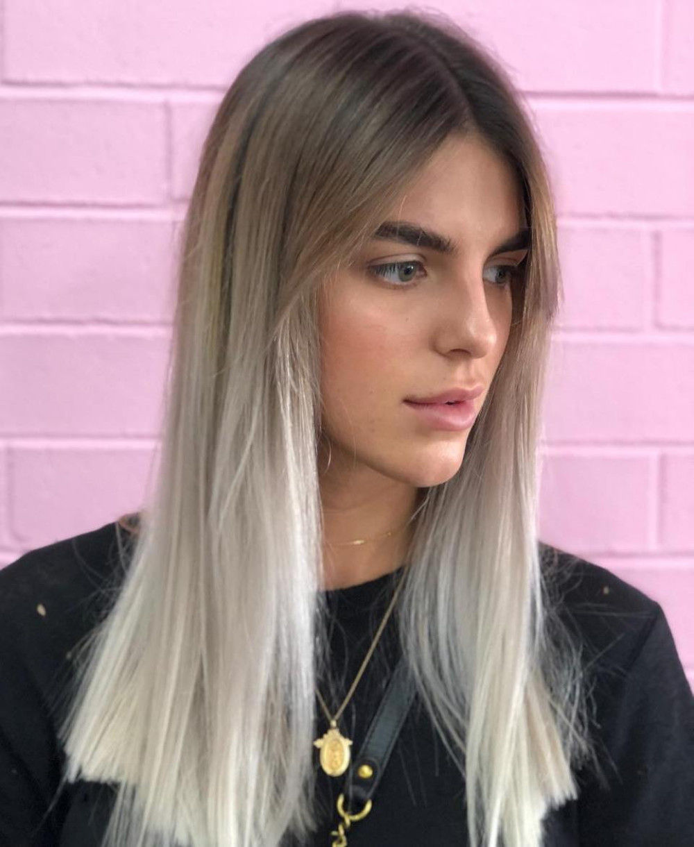 Soft Brown to Silver Ombre Highlights