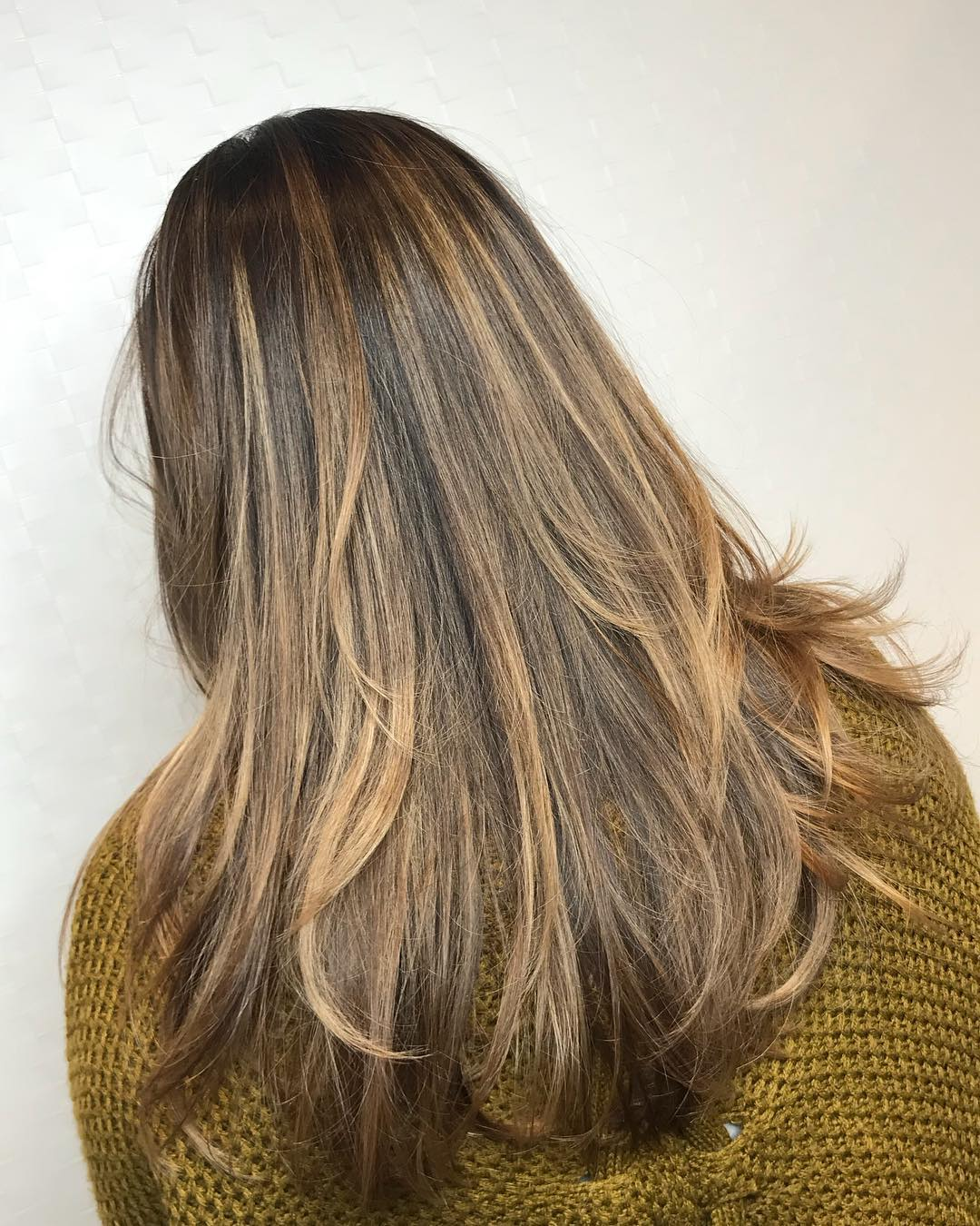 Feather Cut with Honey Brown Balayage