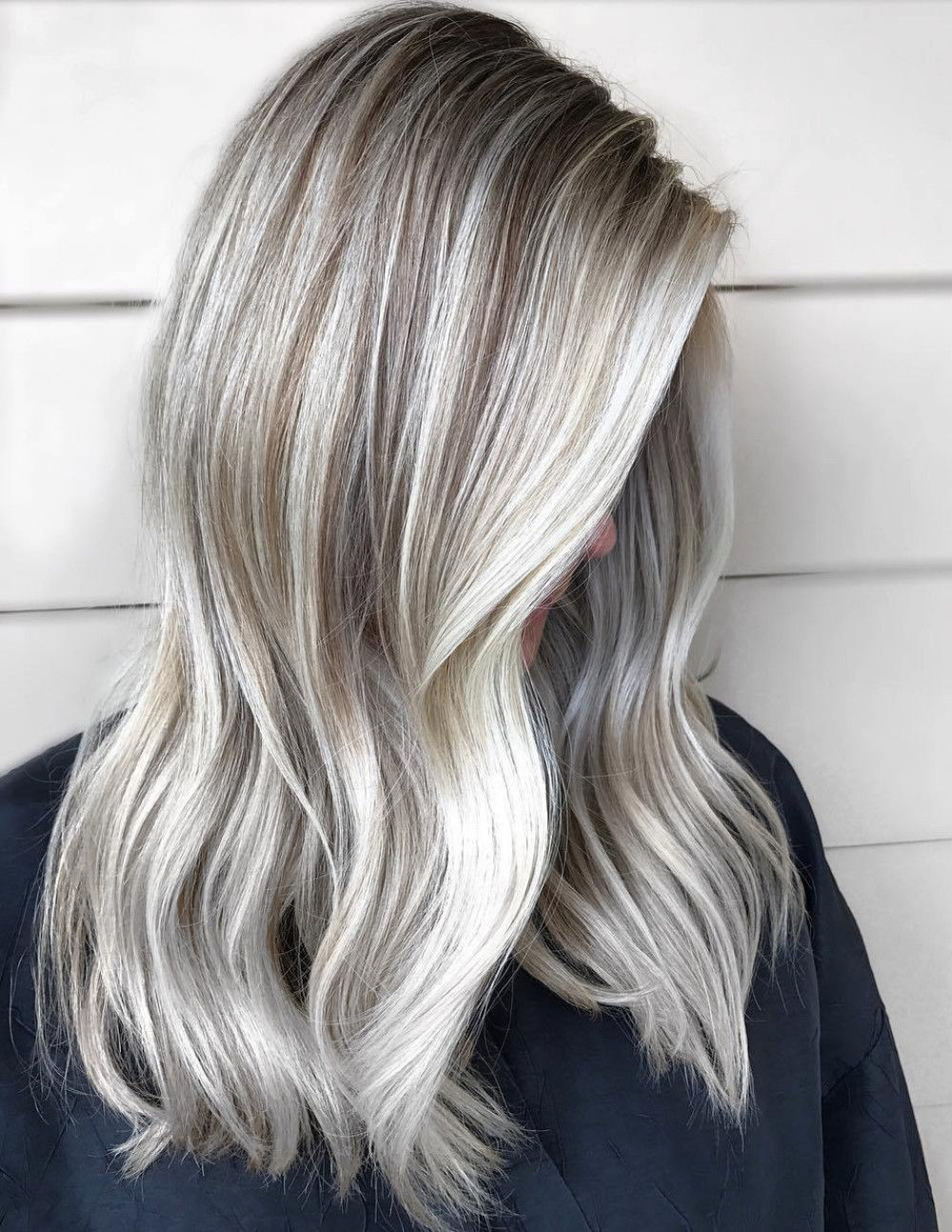 Silver Balayage with Lowlights