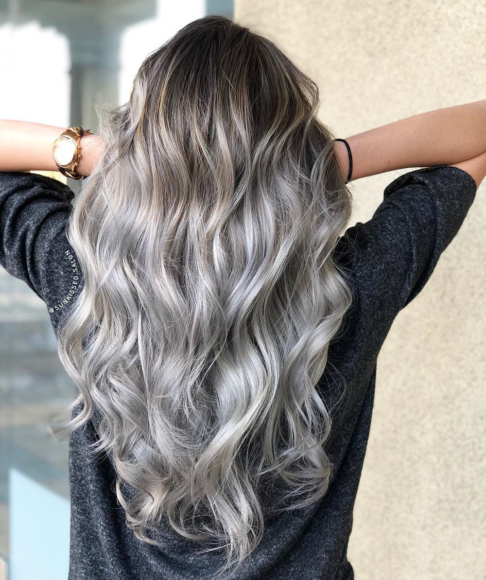 Silver Hair with Light Brown Shadow Roots