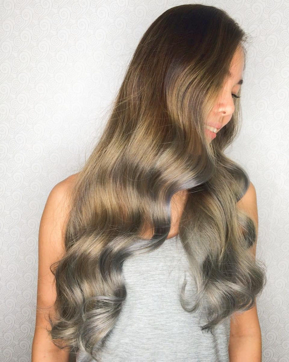 Golden Brown Hair with Silver Highlights