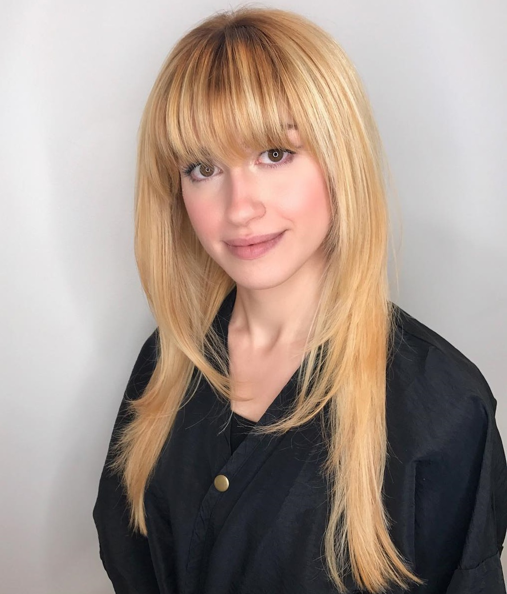 Layered Thin Flat Long Hair with Bangs
