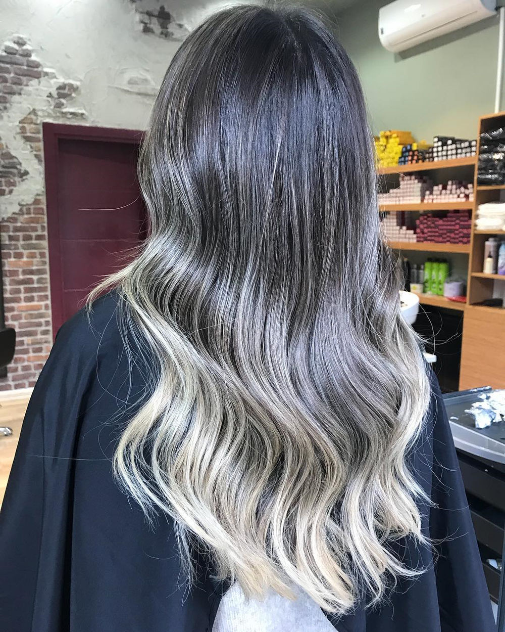 Silver Gray Highlights for Dark Brown Hair