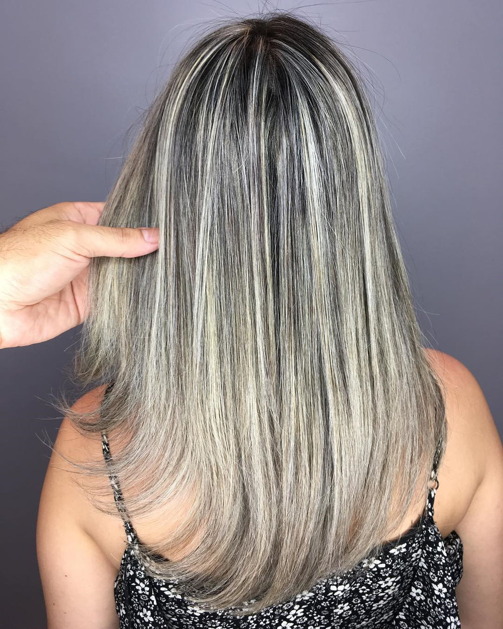 Straight Ash Blonde Hair with Silver Highlights
