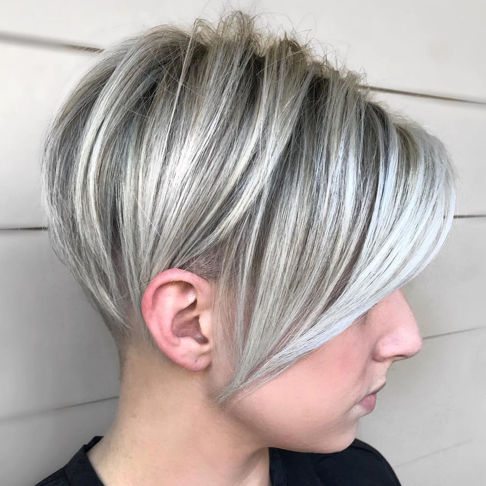 Undercut Pixie with Platinum Silver Highlights