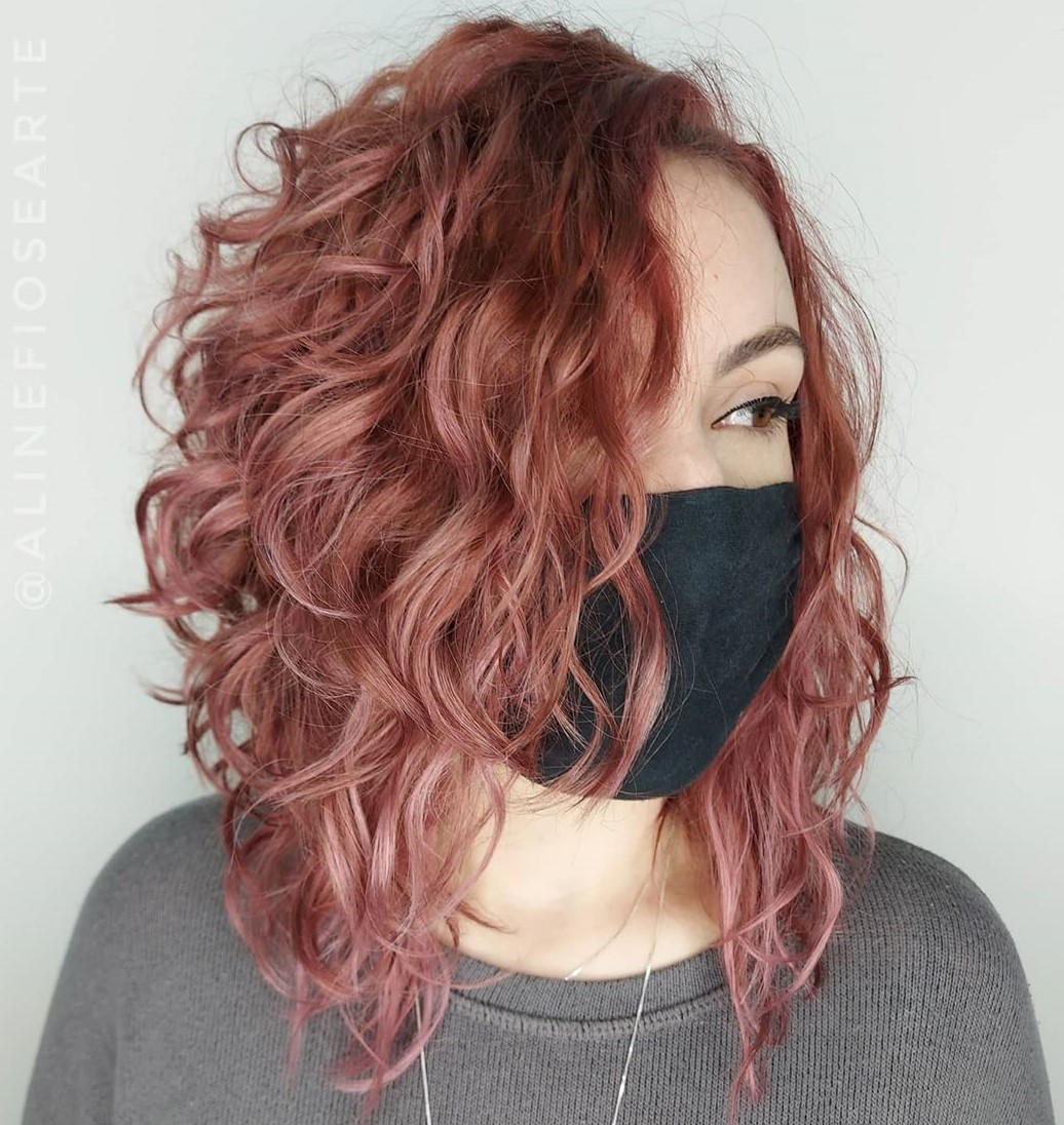 Side-Parted Wavy Lob with Layers and Bangs