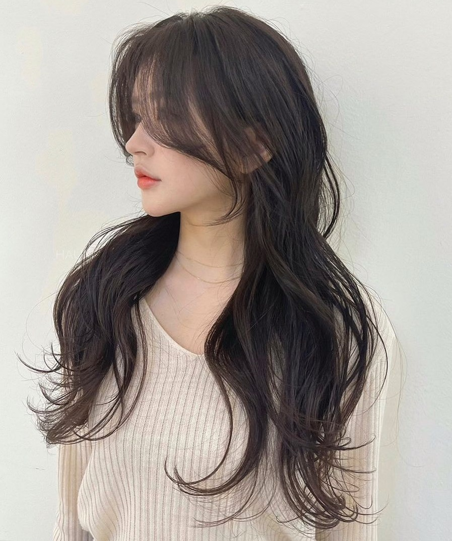 Long Thin Hair with Curtain Bangs