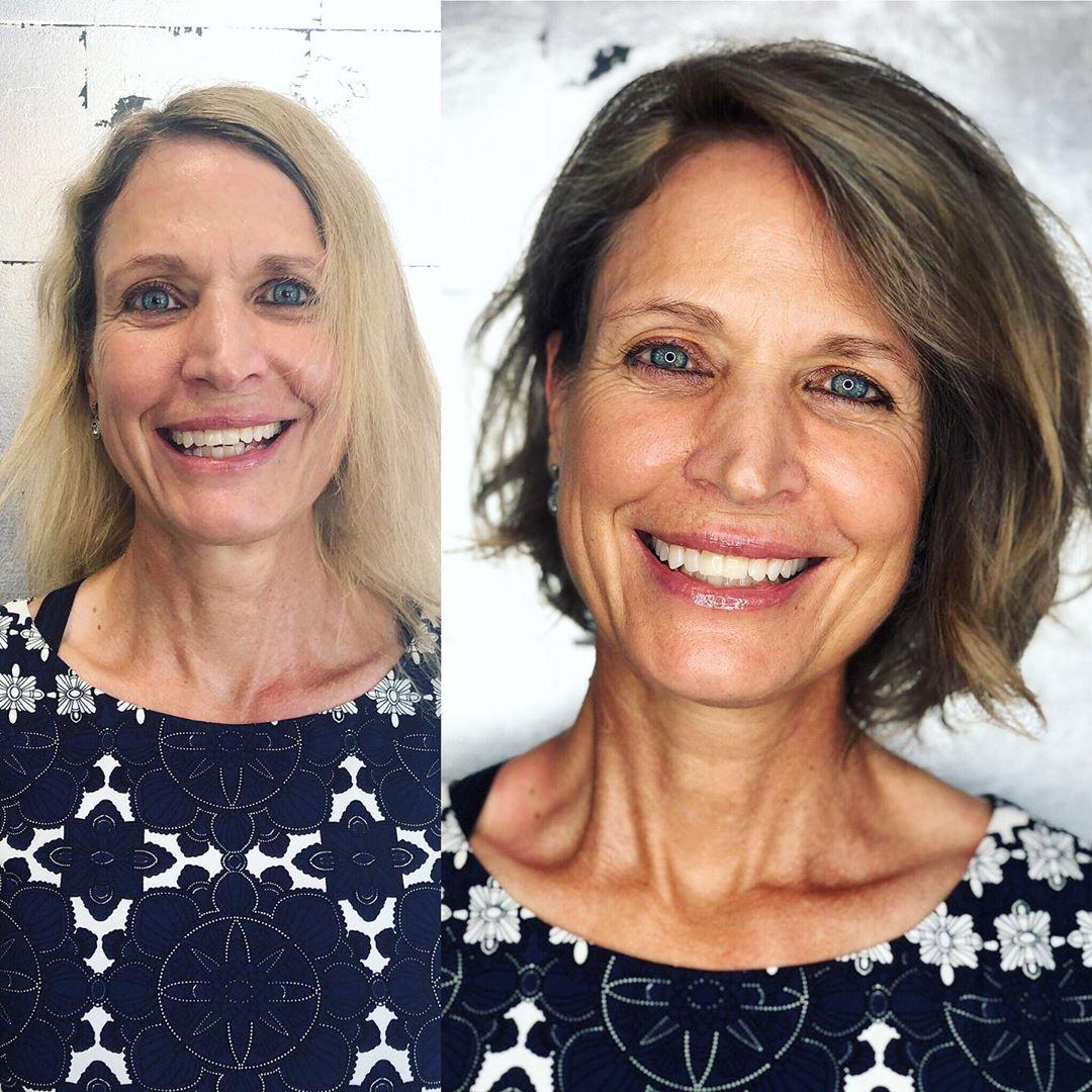 Asymmetric Medium Bob for Older Women with Thin Hair