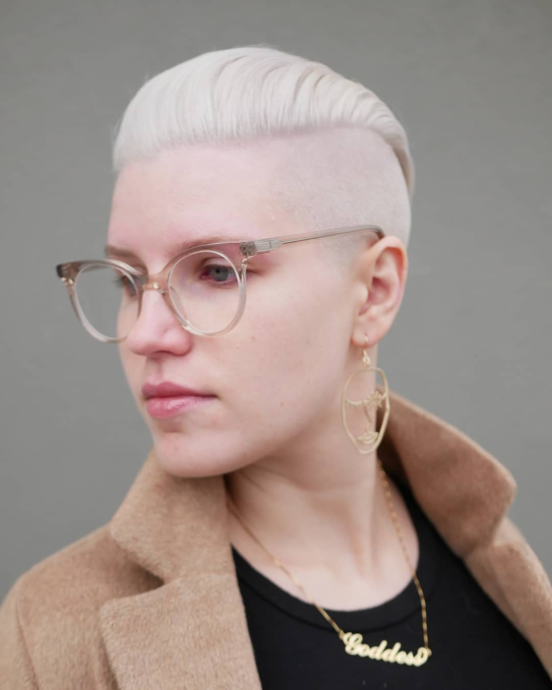 Short Haircut with Glasses and Shaved Sides