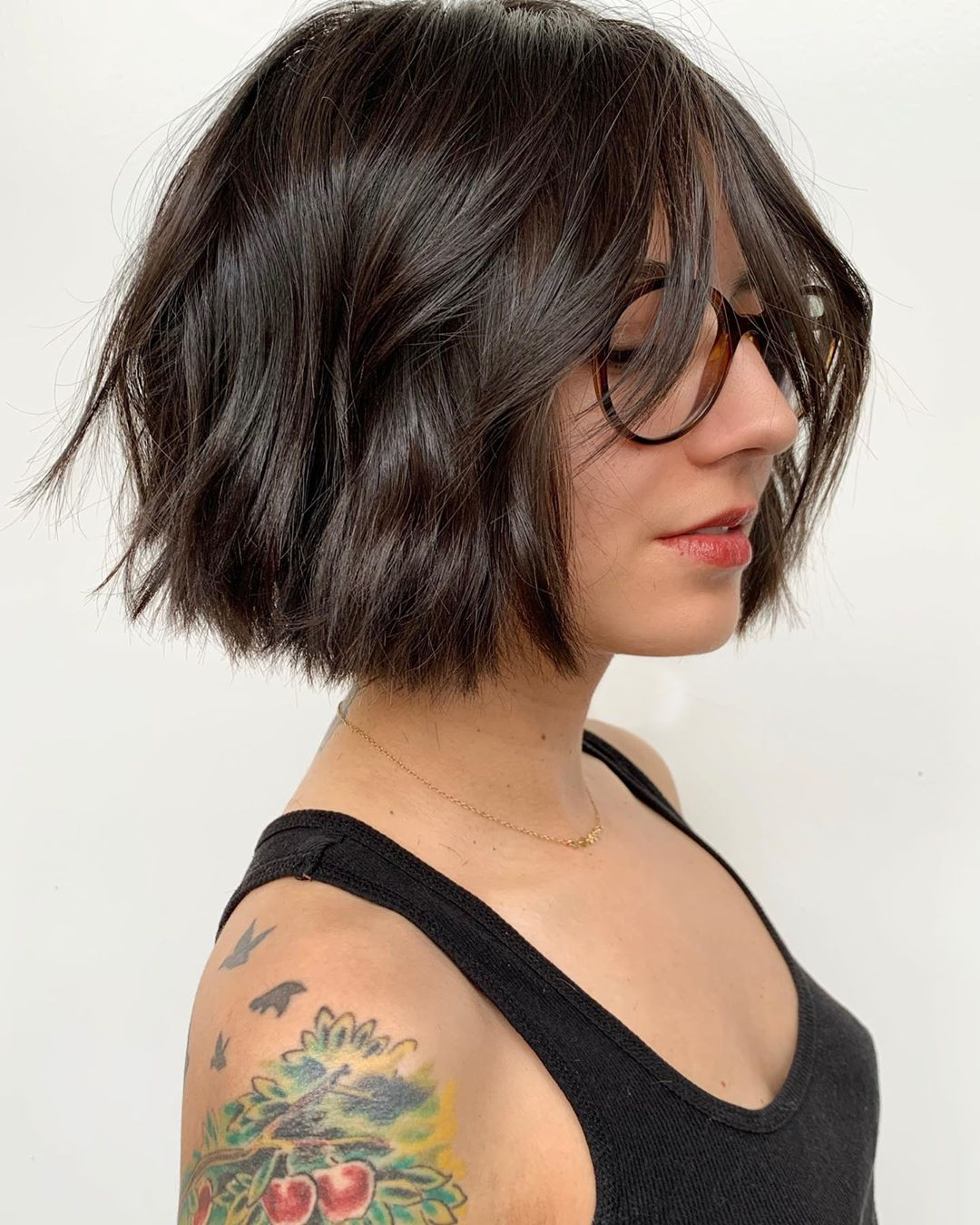 Short Crop with Fringe and Glasses