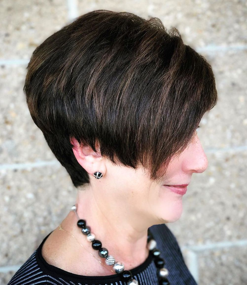 Brown Hair Color with Highlights for Older Women