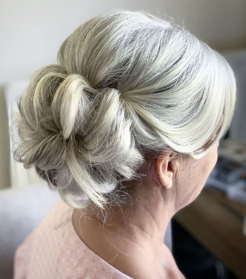 Over 60 Donut Bun Updo