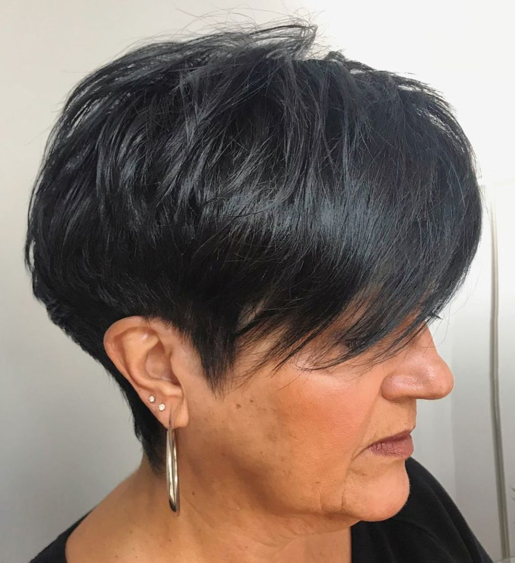 Bold Black Hair Color for Senior Women
