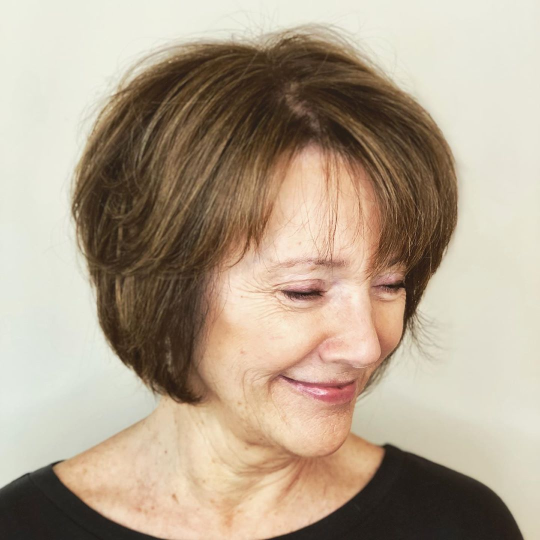 Cute Medium Cut with Bangs for Older Women