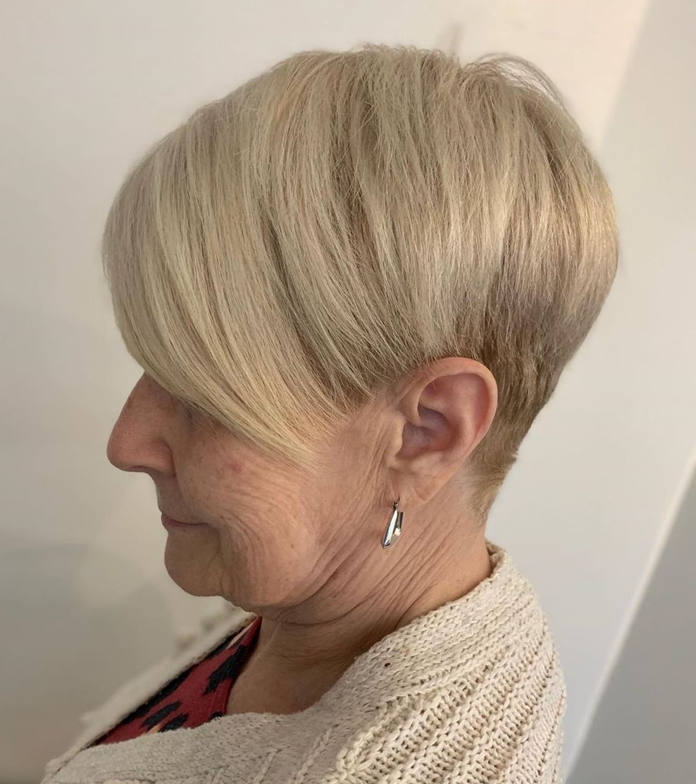 60+ Sassy Tapered Pixie with Side Bangs