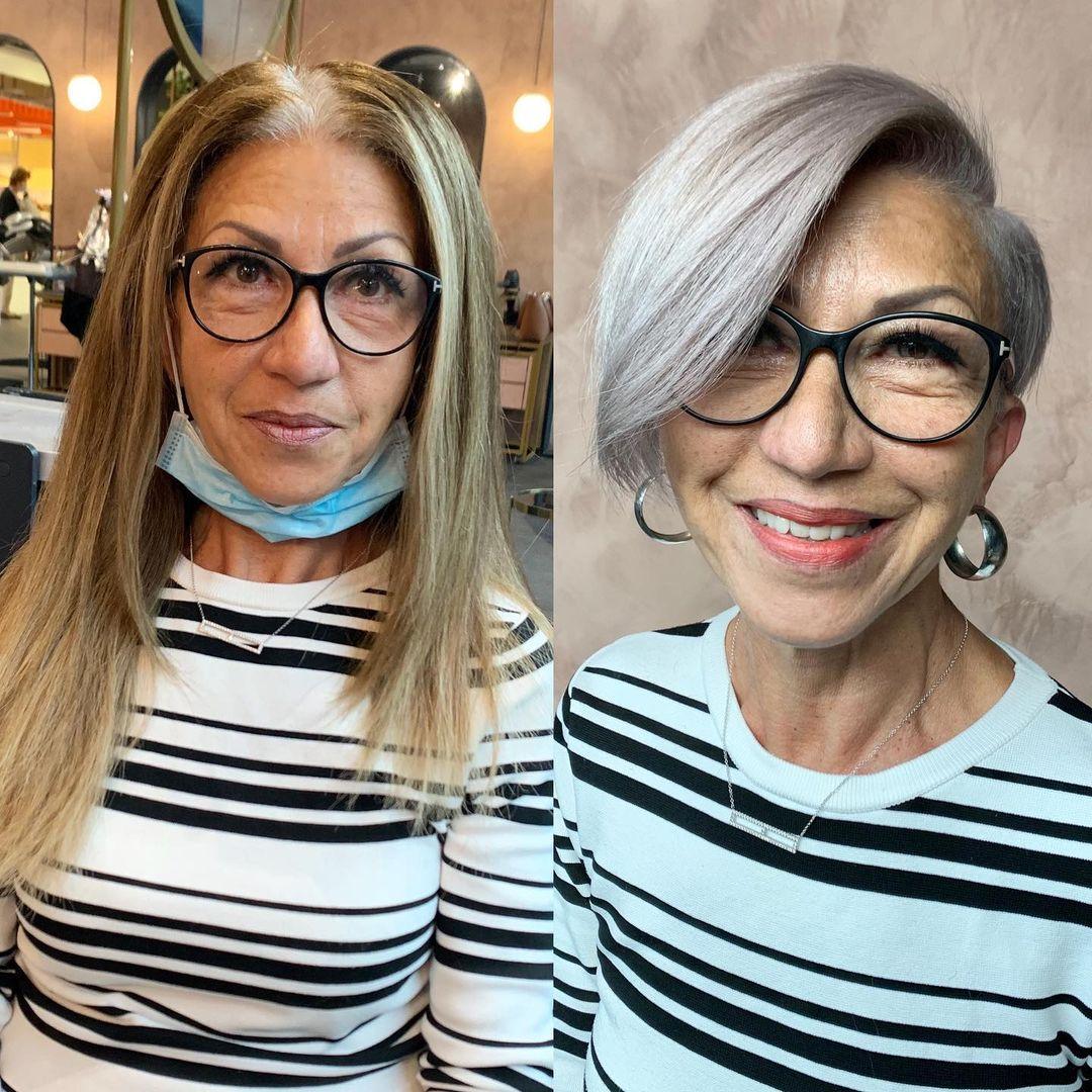 Short Asymmetrical Silver Cut for Older Women