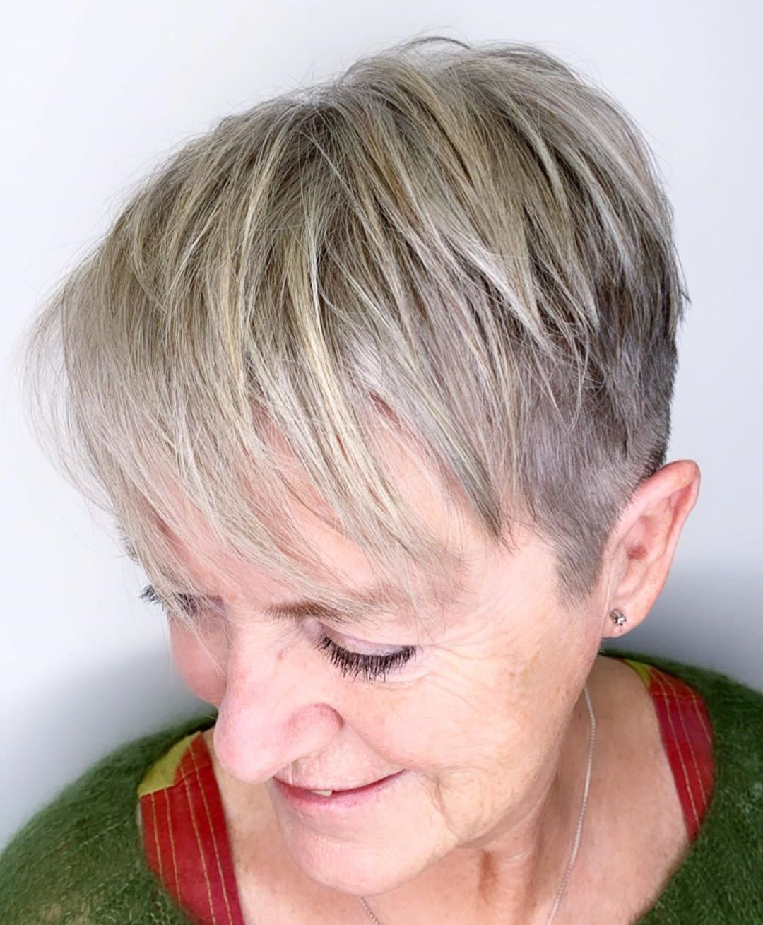 Over 60 Gray Hair with Blonde Highlights