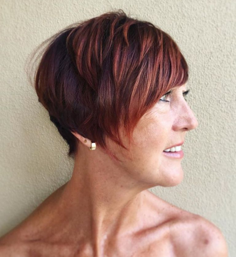 Burgundy and Auburn Hair Color for Women in Their 50s