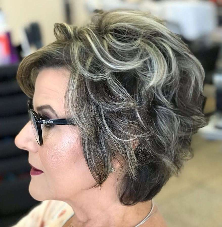 50 and Older Brunette Hair with Highlights