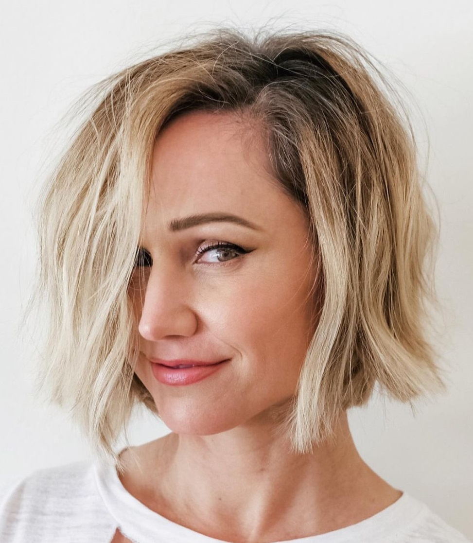 Bold Choppy Bob with Shadow Roots