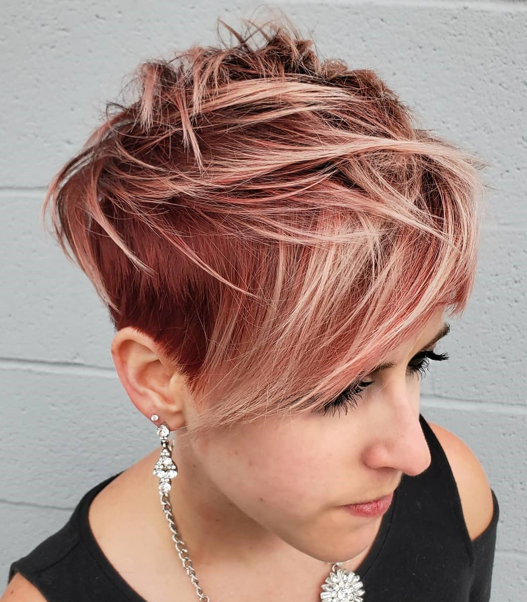 Messy Pink Pixie Cut