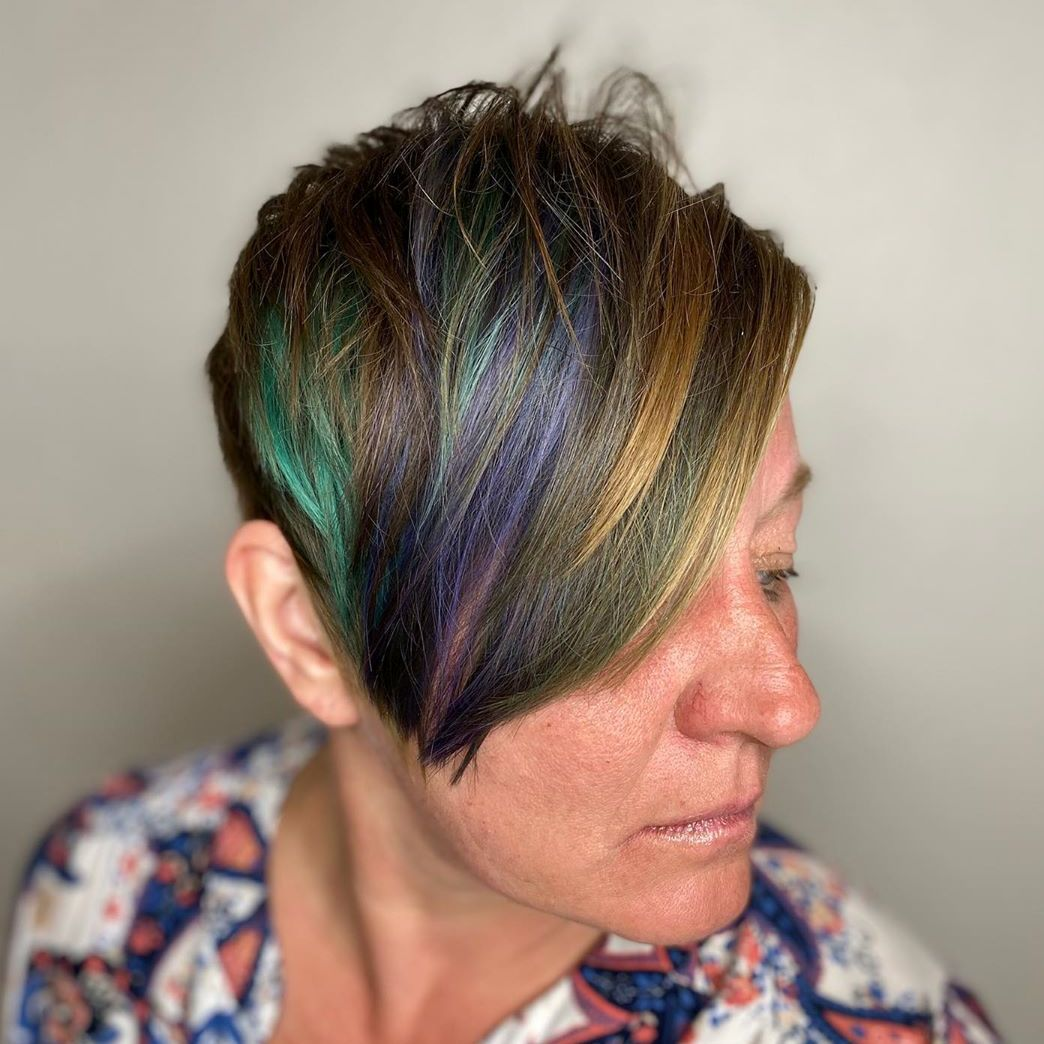 Layered Pixie with Rainbow Highlights