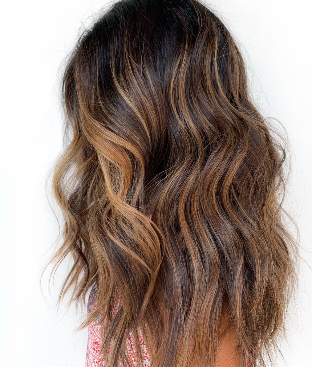 Brunette Hair with Copper Highlights