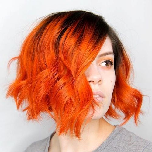 Vivid Red Bob with Dark Roots