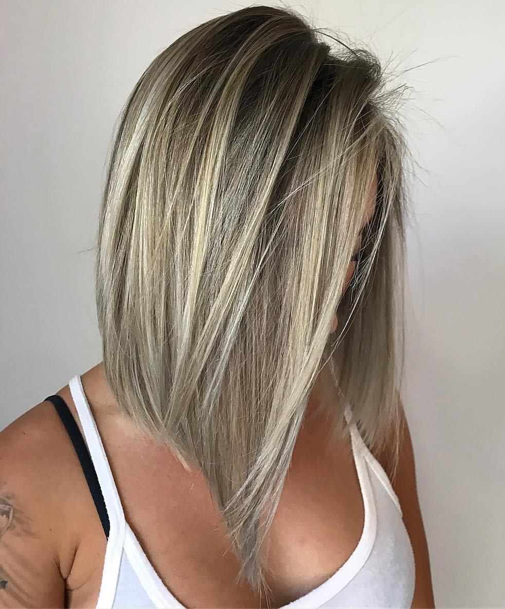 Medium Angled Cut for Straight Hair