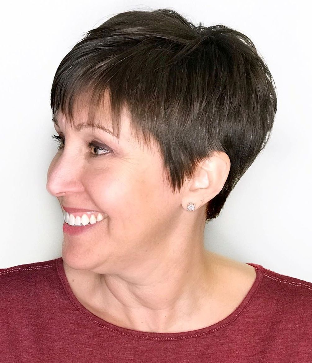 Short Brunette Pixie Haircut