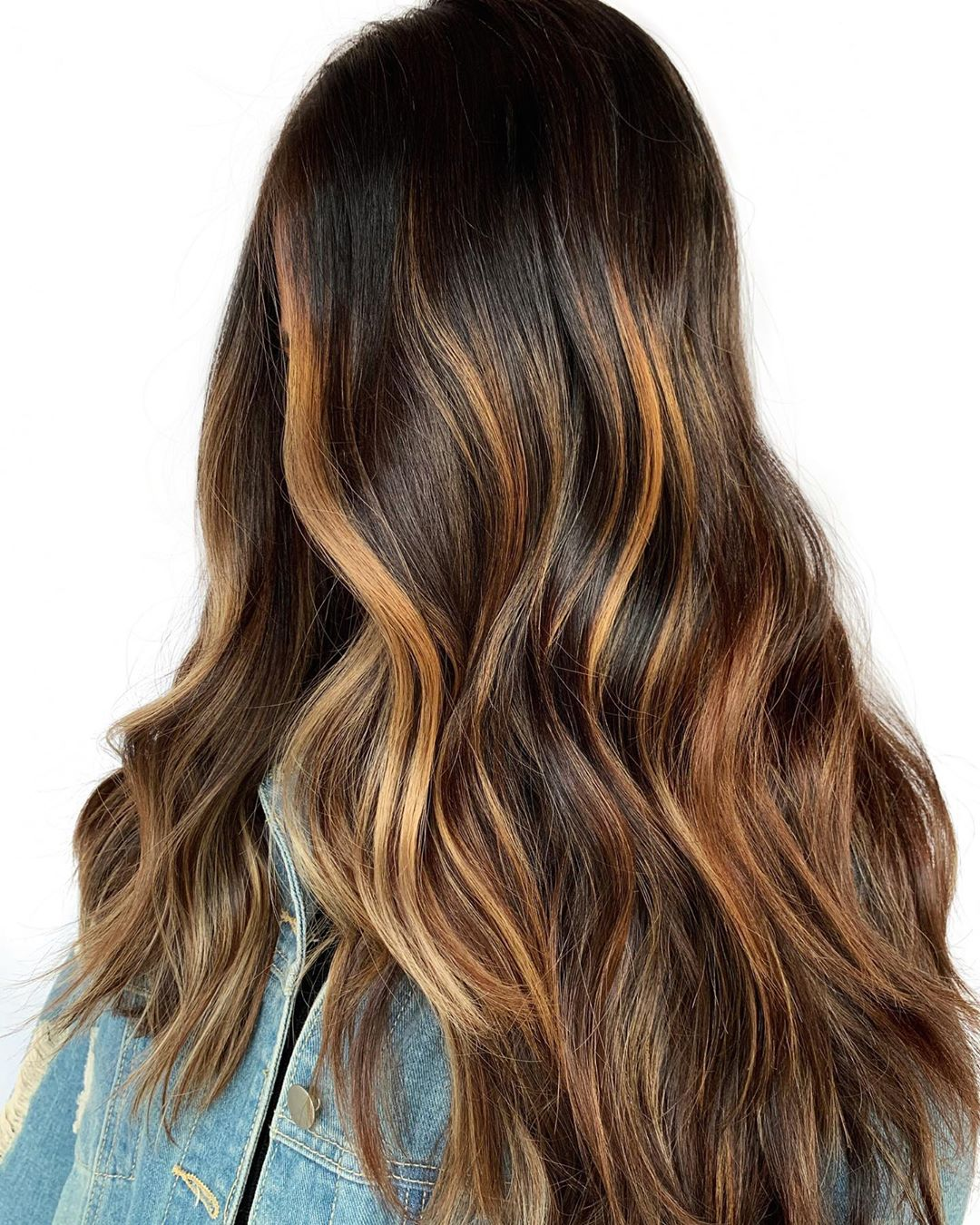 Caramel Balayage Highlights for Dark Hair