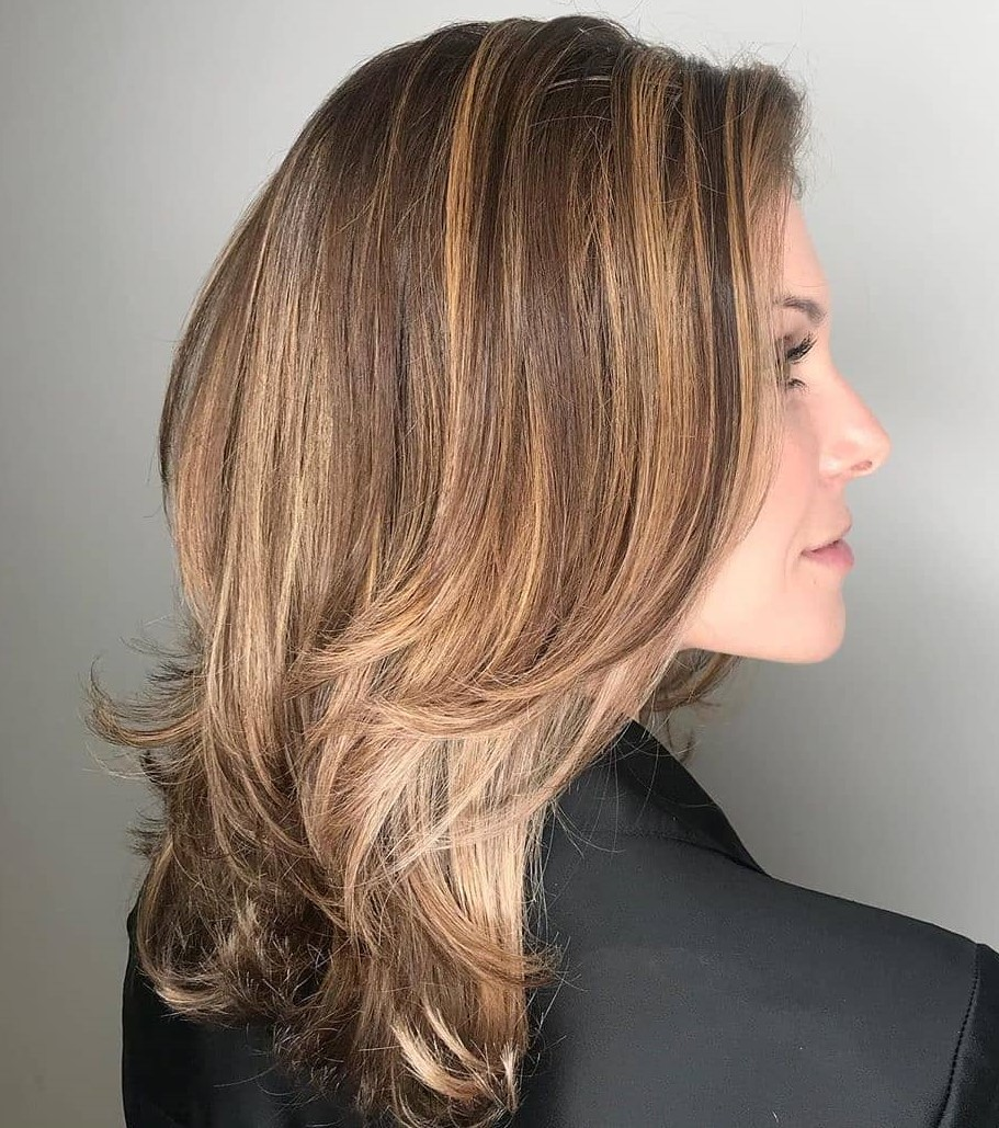 Mid Length Cut with Highlights