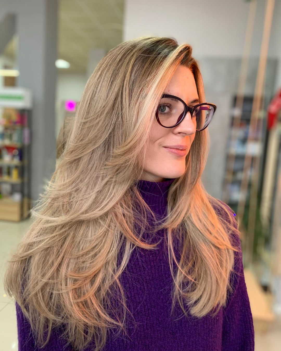 Long Layered Hairstyle with Flipped Ends