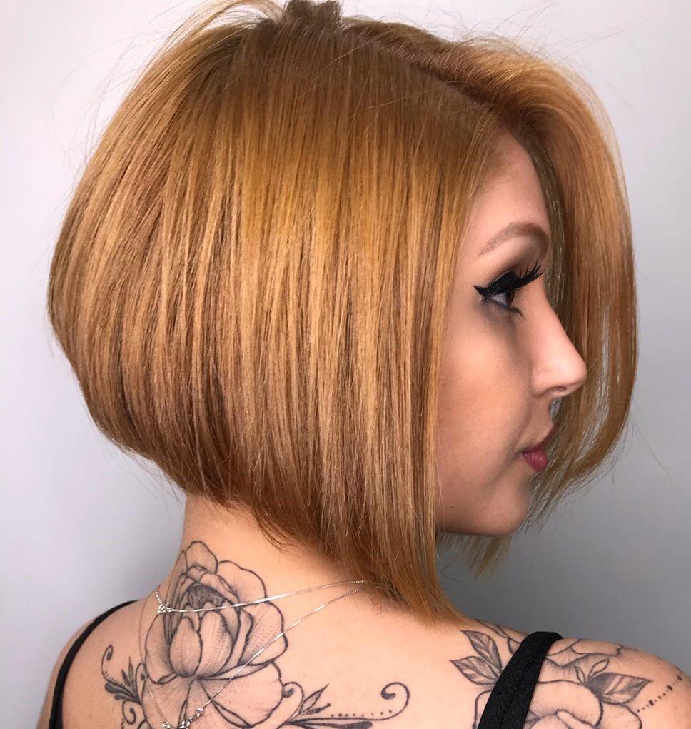 Stacked Asymmetrical Neck-Length Hair