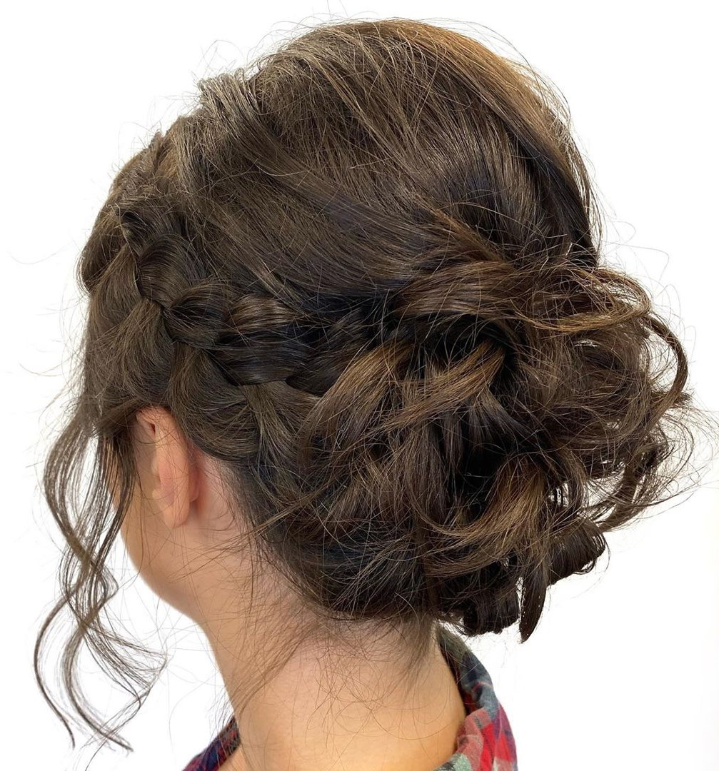 Messy Braided Updo for Neck-Length Hair