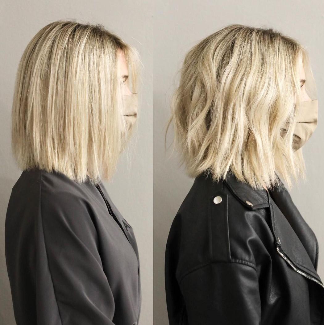 Blonde Lob Haircut for Women