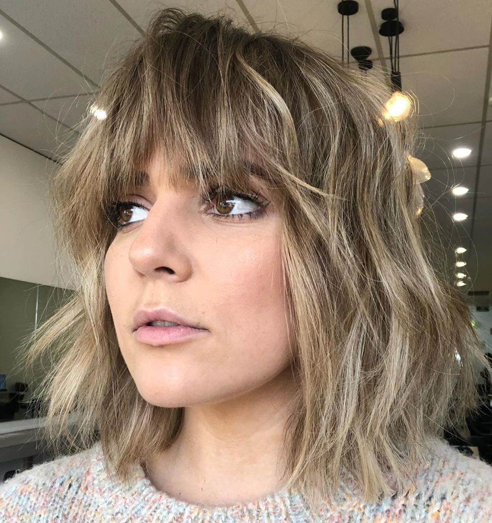 Messy Shaggy Bob with Bangs for Neck-Length Hair