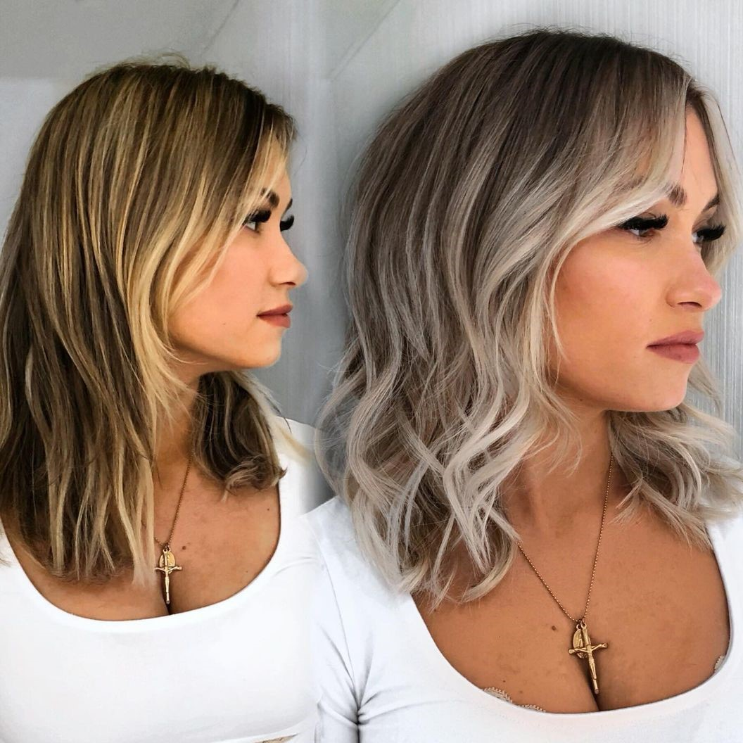 Ash Blonde Mid-Length Haircut