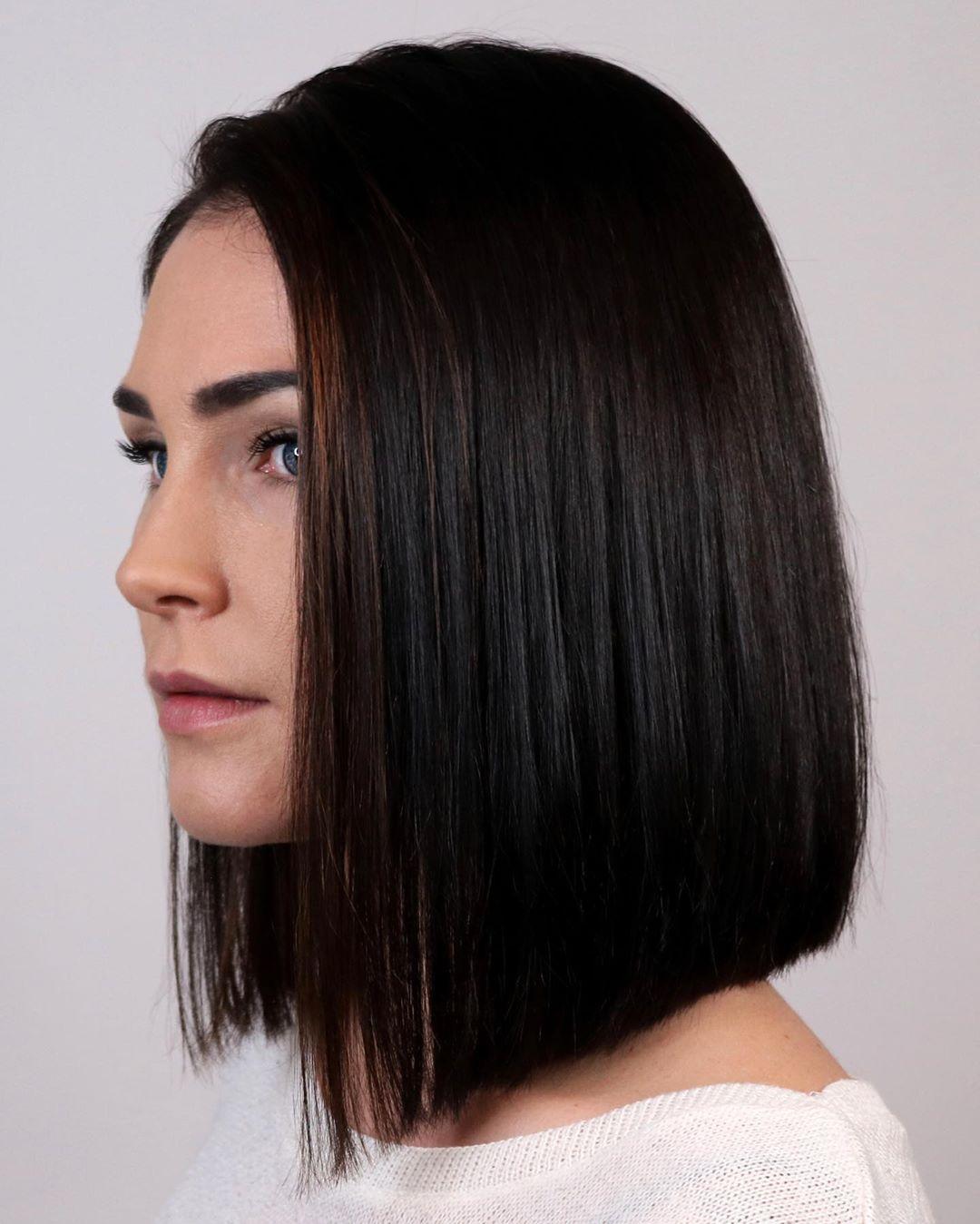 Angled Blunt Lob Haircut