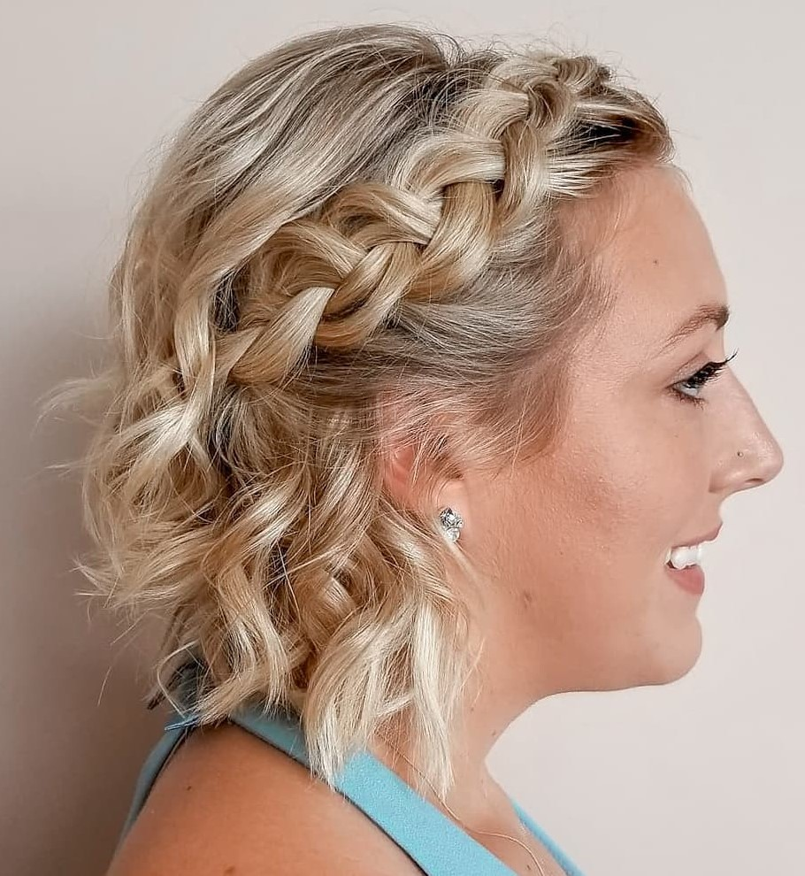 Braided Half-Updo for Neck-Length Hair