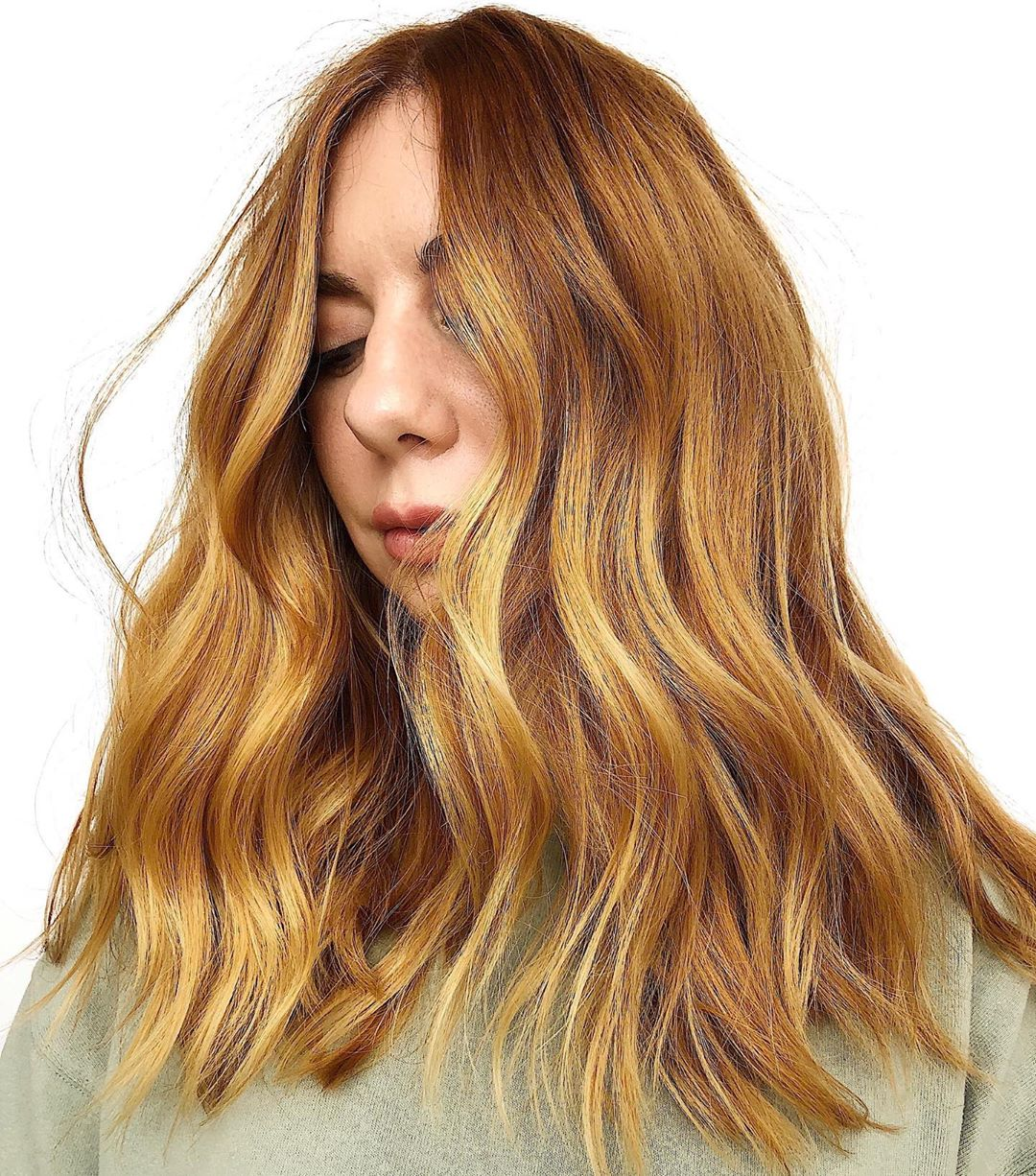 Light Red Hair with Golden Blonde Highlights
