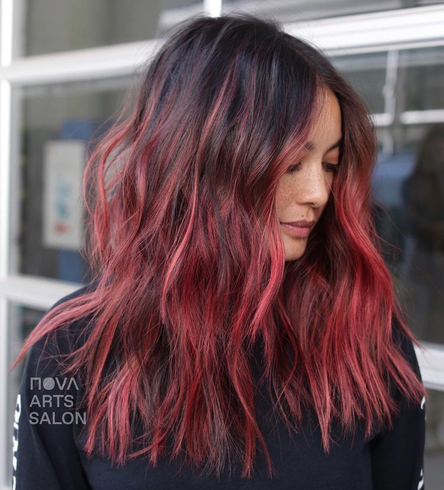 Raspberry Balayage for Dark Hair