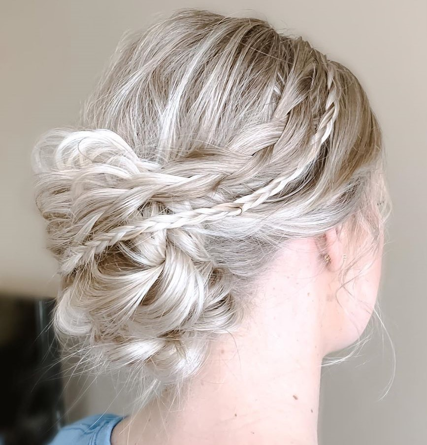 Messy Updo with Fine Braids