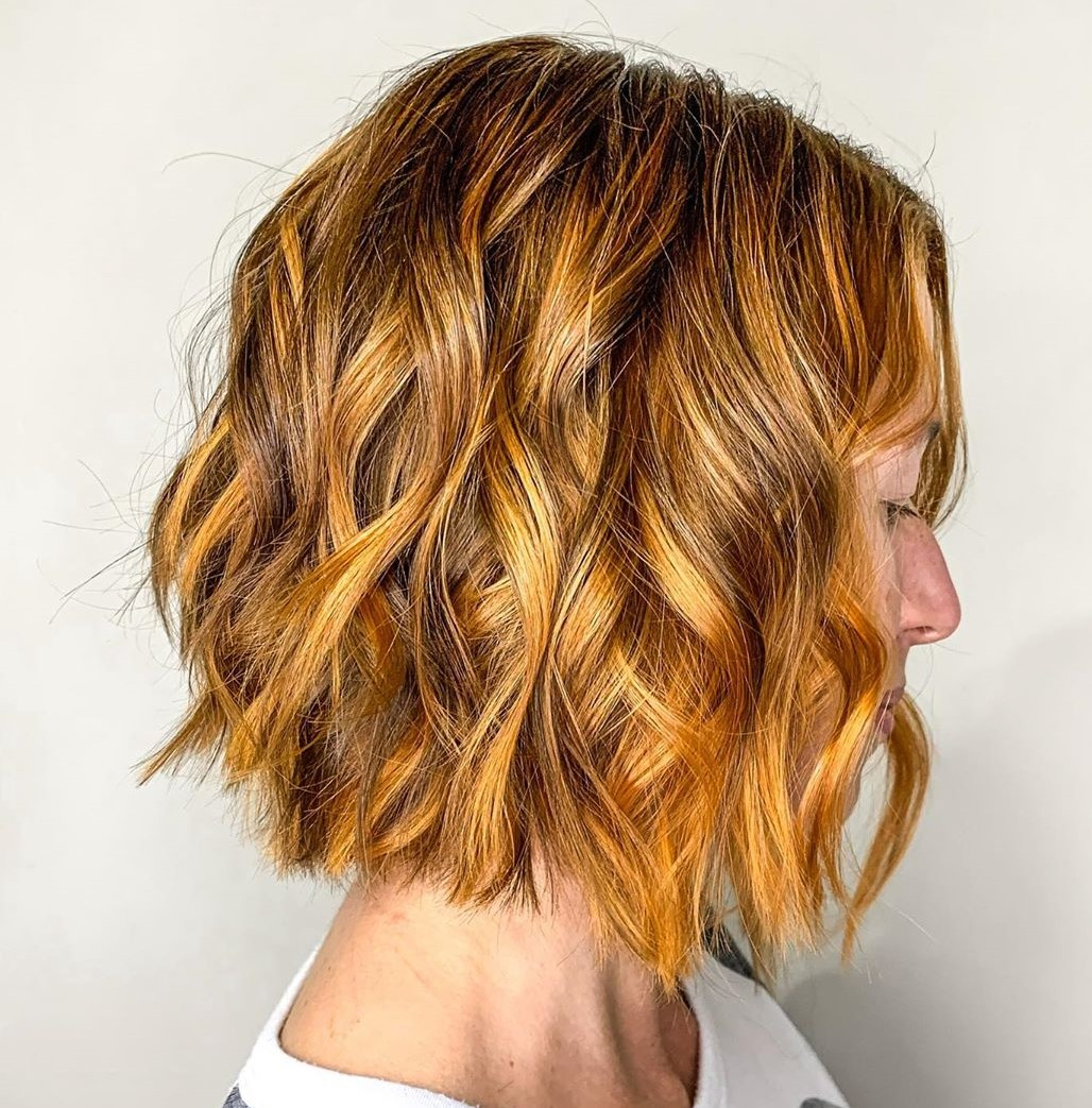 Copper and Golden Balayage Hair