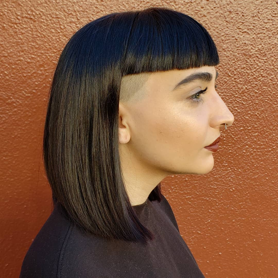 Blunt Lob with Bangs and Undercut