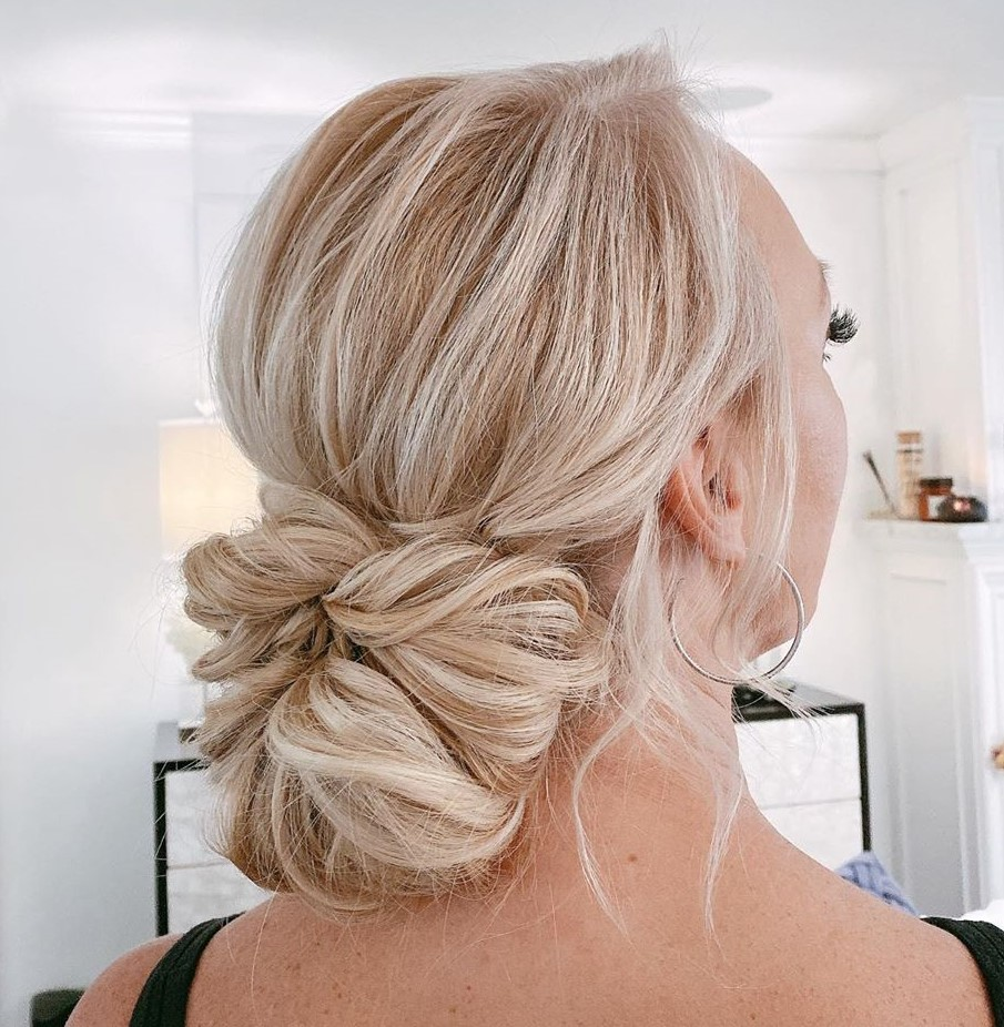 Messy Bow Bun Updo for Fine Hair