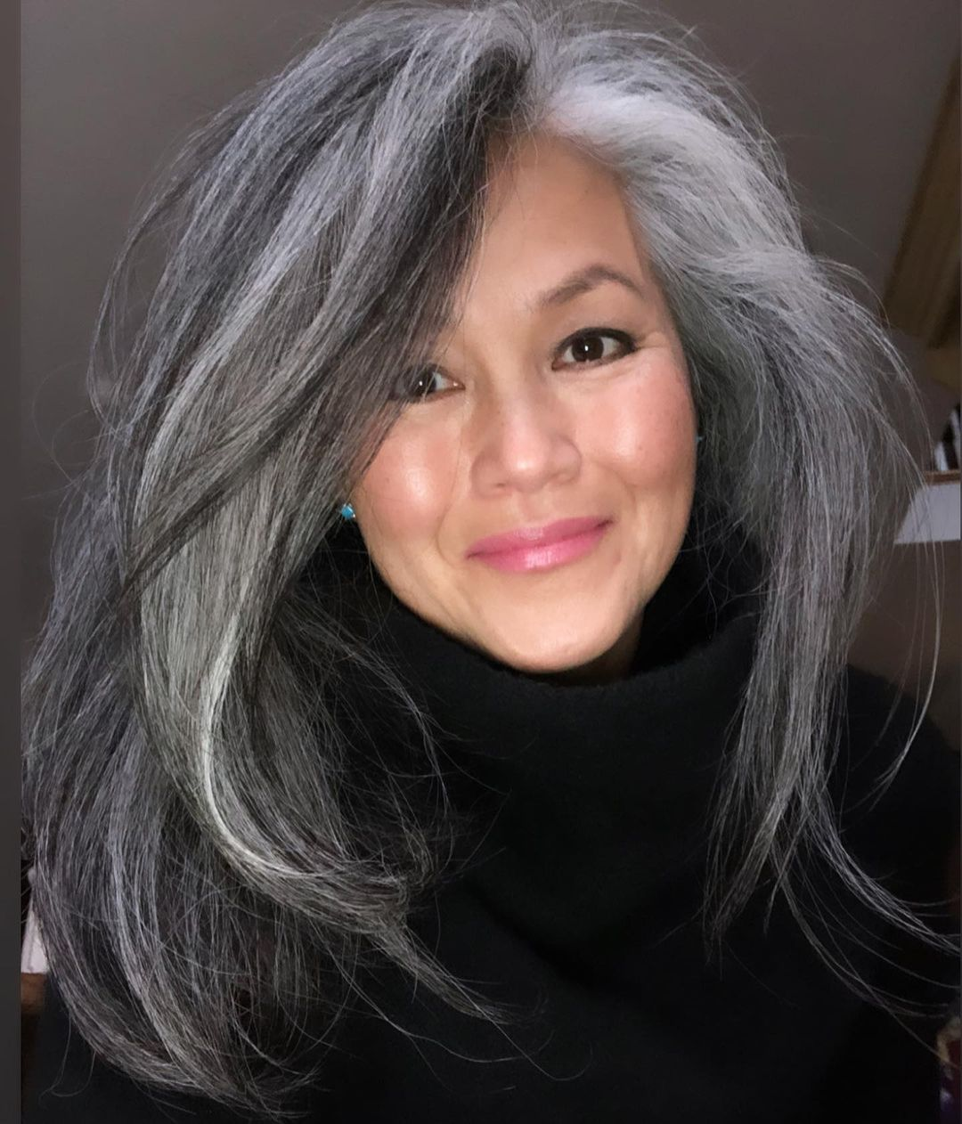 Long Black and Gray Hair with Highlights
