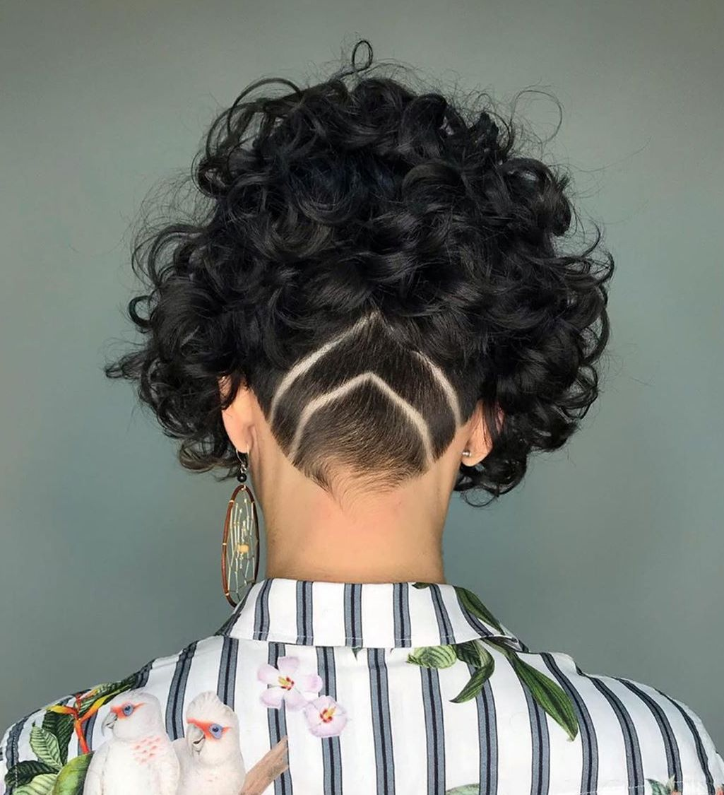 Short Curly Bob with Nape Undercut