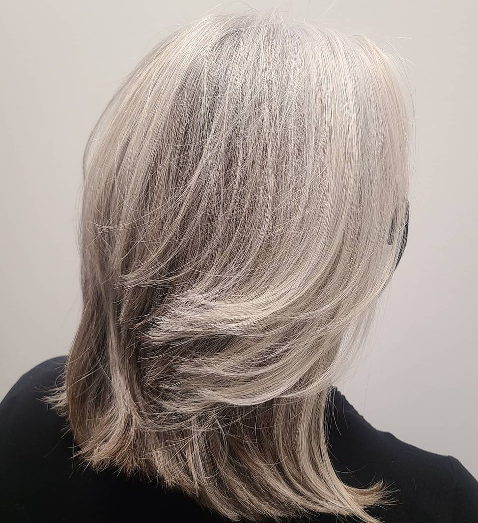 Layered Blonde and Silver Hair